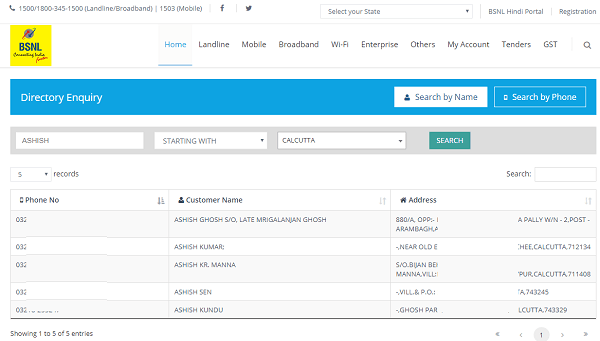BSNL Phone directory