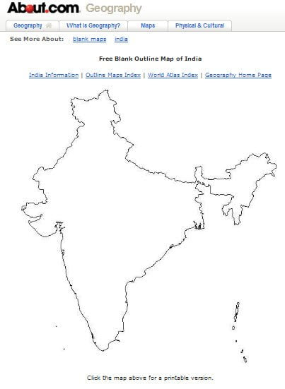 Printable blank map of India and other countries