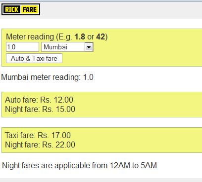 New Auto Rickshaw Fare chart details in Mumbai