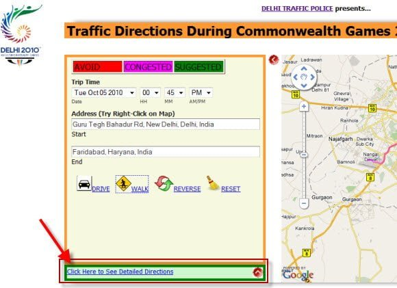 Traffic Directions During Commonwealth Games 2010