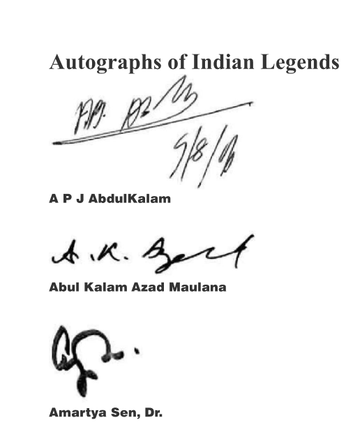 A rare collection of Signatures/Autographs by the Legends of India